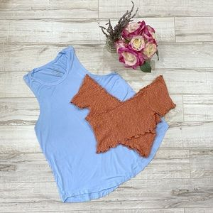 Bundle Baby Blue Tank Top and Brown Crop Top M